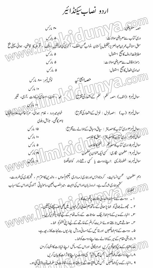 class-12-urdu-paper-scheme-punjab-board